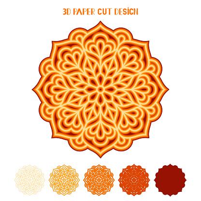 3D fall vector mandala. Mandala with leaves. Multi layered paper cut template.