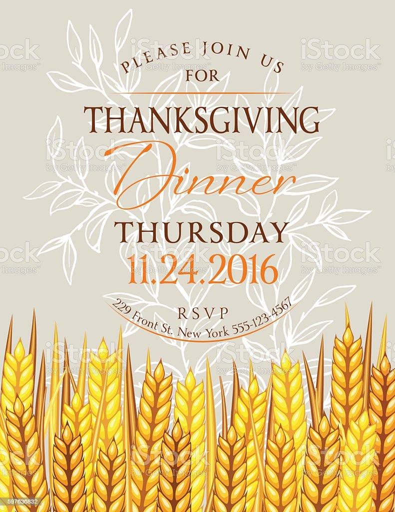 fall wheat thanksgiving dinner invitation template お祝いの