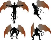 silhouettes of the winged demon