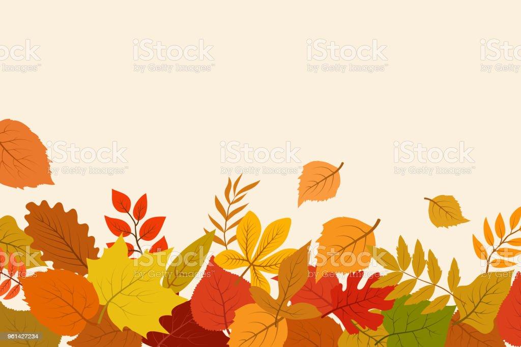 Altın Ve Kırmızı Sonbahar Yaprakları Düşmüş Ekim Doğa Vektör Arka