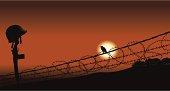 Fallen War Soldier and Bird of Peace