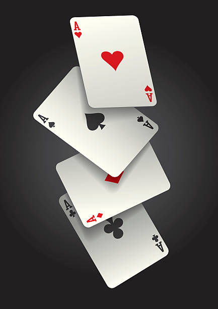 falling ace cards A vector illustration of the four ace cards falling in mid-air. This illustration contains a transparencies and blends. Therefore the file is am Illustrator EPS 10 file. The file has been set up using CMYK colours and no spot colours. poker stock illustrations