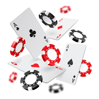 Falling aces and casino chips with blurred elements on white background. Playing cards, red and black money chips fly. The concept of winning or gambling. Poker and card games. Vector illustration