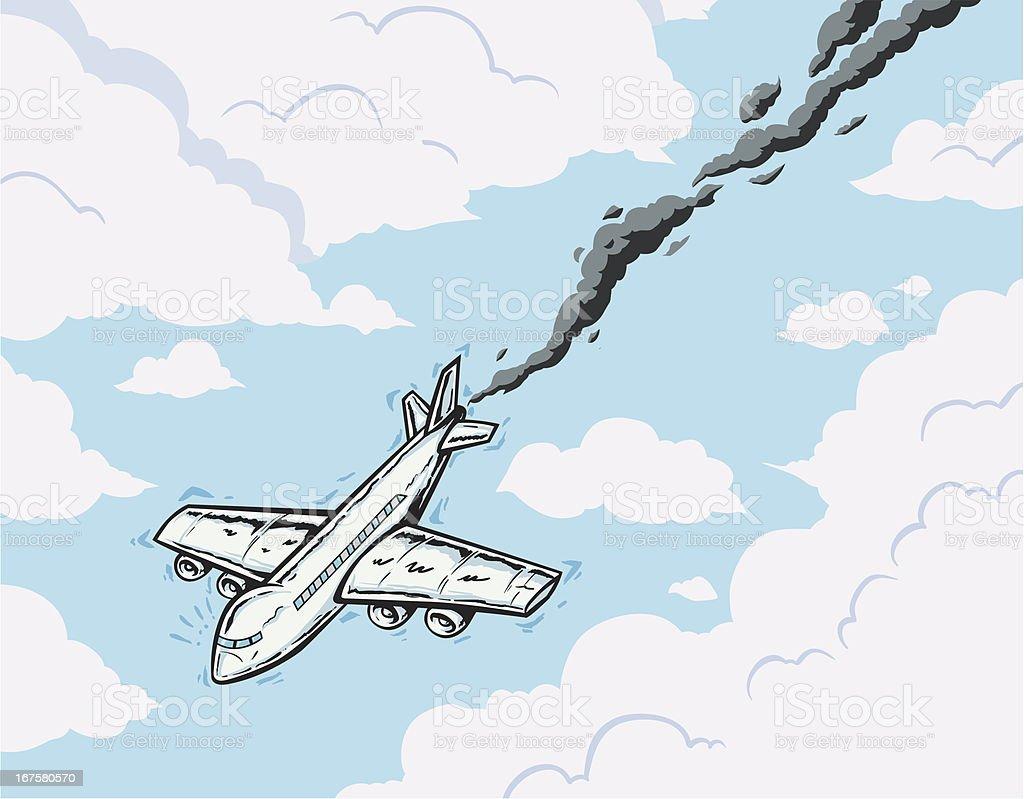 falling airplane vector art illustration