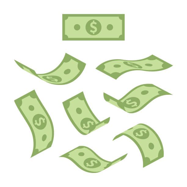 美元票據在白色背景上隔離的各種位置下跌 - money 幅插畫檔、美工圖案、卡通及圖標