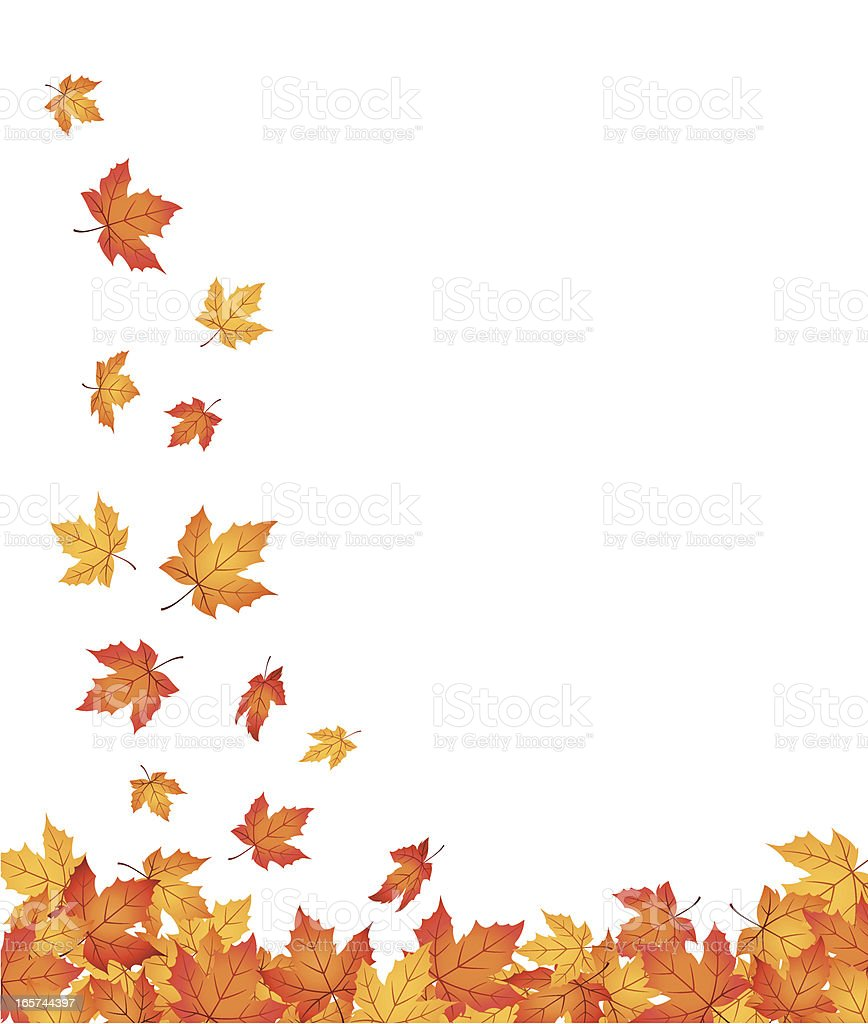 Falling Autumn Leaves - Vector royalty-free stock vector art