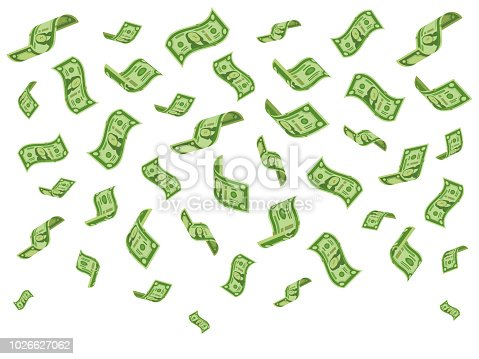 Falling banknotes. Wealth money denominations rain, falling dollar bills and abundance raining cash dollars flying, currency success finance vector cartoon concept illustration