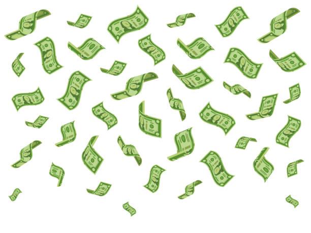 落鈔票。財富貨幣面額雨, 下落的美元鈔票和雨美元向量卡通概念插圖 - money 幅插畫檔、美工圖案、卡通及圖標