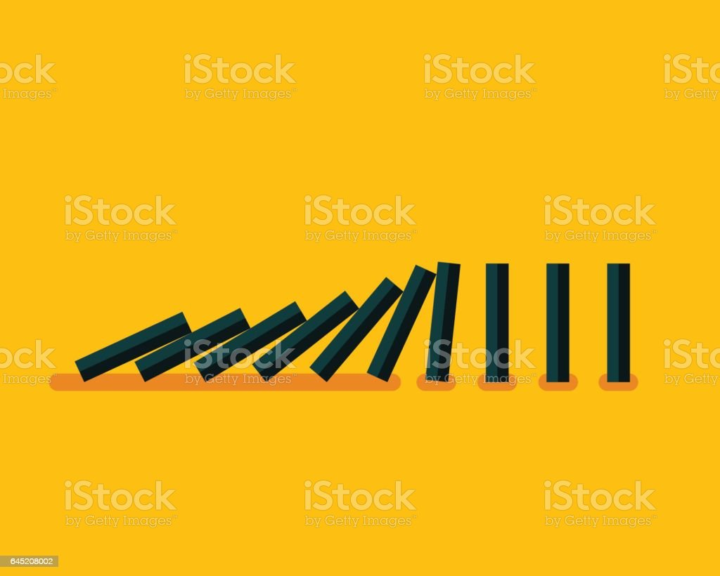 Falling black dominoes on yellow background
