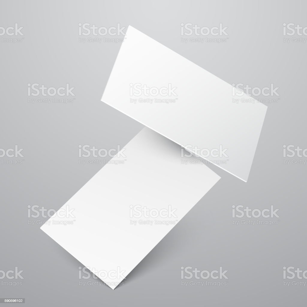 falling blank white business cards vector template stock
