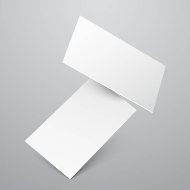 Falling blank white business cards vector template – Vektorgrafik