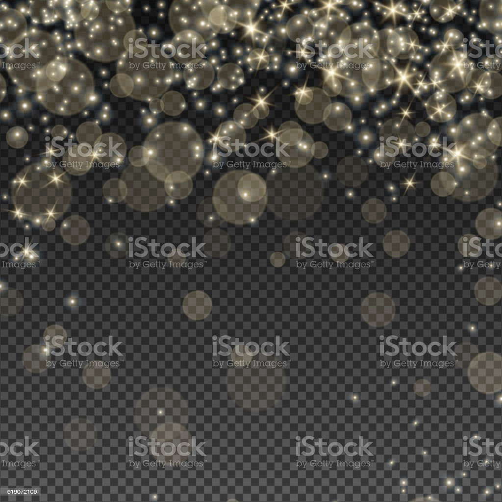 Falling Bokeh and Sparkles vector art illustration