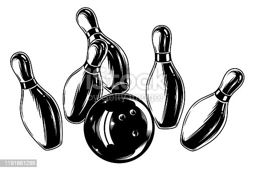 Monochrome falling bowling pins and ball isolated on white background