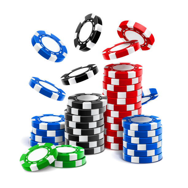 Falling casino chips or stack of gambling tokens Falling casino chips or stack of realistic gambling blank tokens, betting club 3d cash or plastic money for roulette, blackjack and sport poker. Winning and fortune, gamble and luck, chance and risk gambling chip stock illustrations