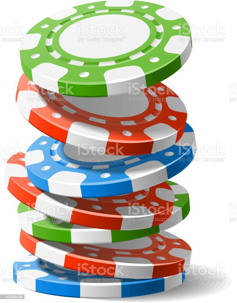 Falling casino chips vector art illustration