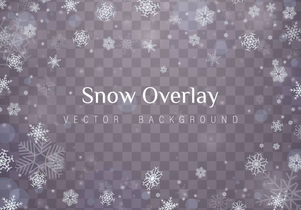 Falling Christmas snow. Falling Christmas snow. Snowflakes isolated on transparent background. Vector heavy snowfall, snowflakes in different shapes and forms. multi layered effect stock illustrations