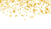 istock Falling coins background. Casino jackpot or win concept. 1255361941