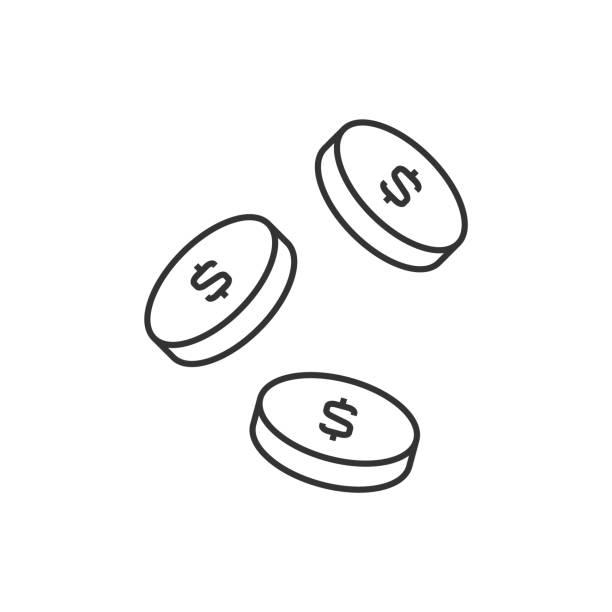 白色背景上掉落的硬幣輪廓圖示向量藝術插圖