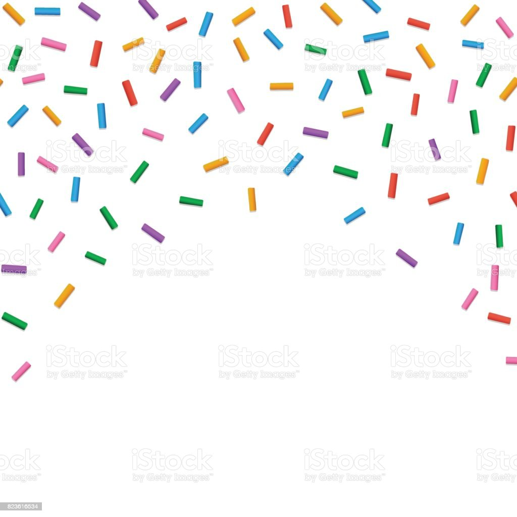 Falling colorful confectionery powder vector art illustration