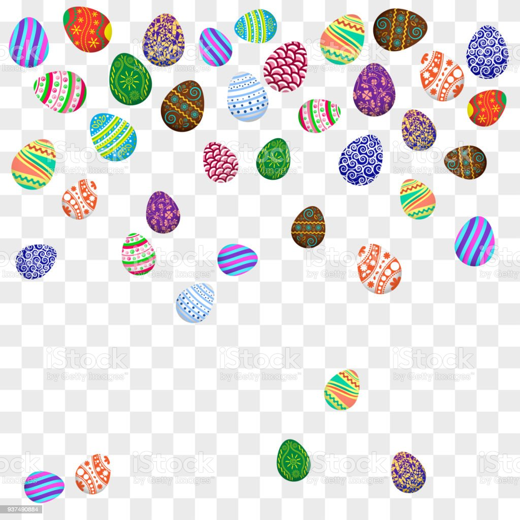 Falling Colorful Easter Eggs On Transparent Background