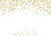 Falling confetti. Bright vector golden confetti background. Confetti and serpentine splash isolated on black night background. Сarnival, celebration, opening, birthday premium design. Night party.