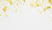 Falling confetti isolated border background. Shiny gold flying tinsel for party