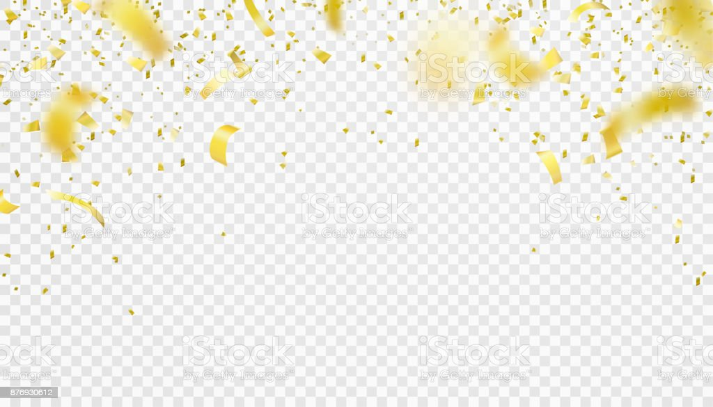 Falling confetti isolated border background. Shiny gold flying tinsel for party vector art illustration