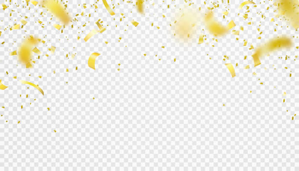 Falling confetti isolated border background. Shiny gold flying tinsel for party Falling confetti isolated border background. Shiny gold flying tinsel for party, anniversary, birthday, carnival decoration design. Blurred element. Vector illustration on transparent backdrop birthday borders stock illustrations