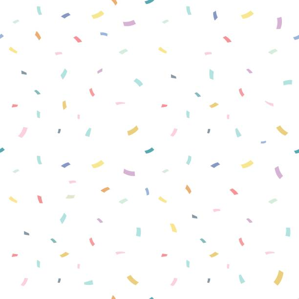 falling confetti with white background, vector illustration - cute stock illustrations
