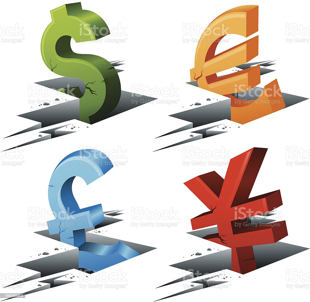 Falling Currency Symbols royalty-free falling currency symbols stock vector art & more images of accidents and disasters