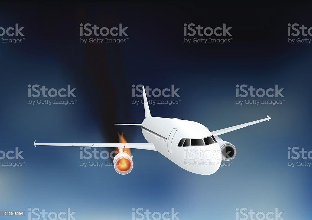 Falling damaged plane in fire vector art illustration