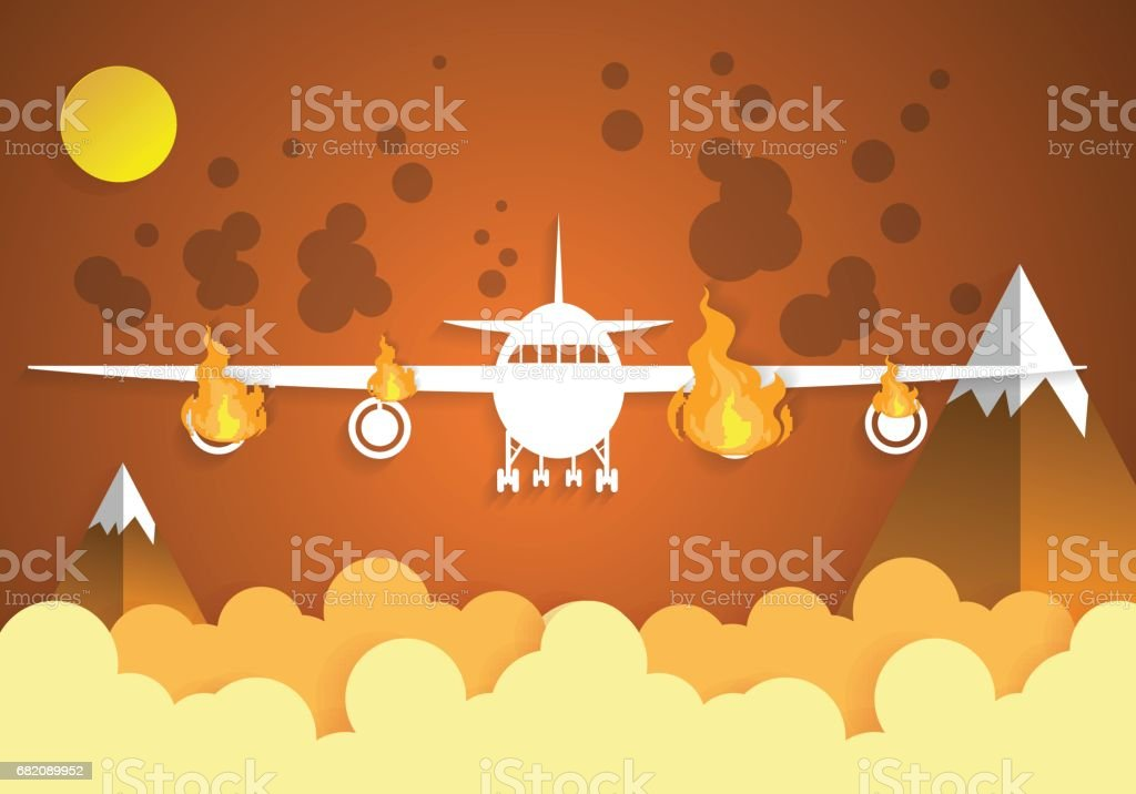 Falling damaged plane in fire with sky.paper art vector art illustration