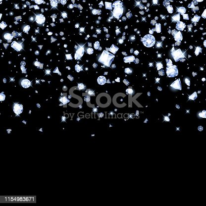 Falling diamonds on black background. Good for cover card banner luxury design.