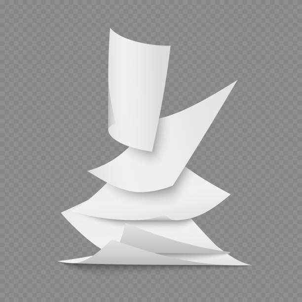 fallende dokumentseiten leeres weißes papier - freiflächen stock-grafiken, -clipart, -cartoons und -symbole