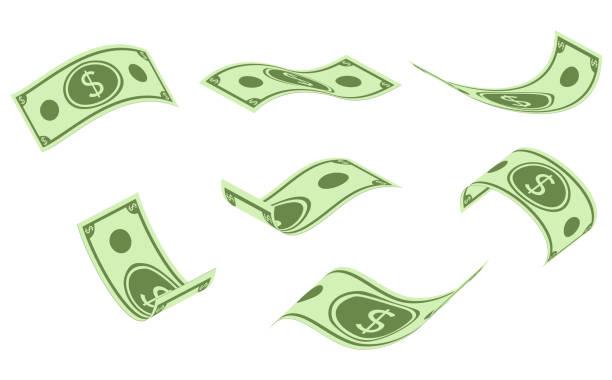 下落的鈔票, 金錢雨, 平的向量例證隔絕在白色背景。 - money 幅插畫檔、美工圖案、卡通及圖標
