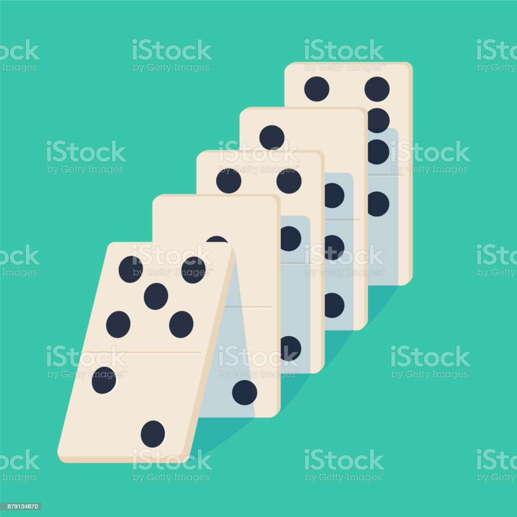 Falling dominoes. Concept of Domino effect. Vector illustration of projection