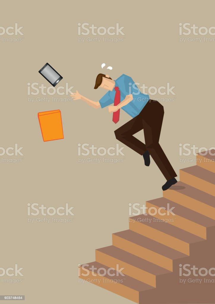 Caindo em ilustração vetorial de escada - ilustração de arte em vetor
