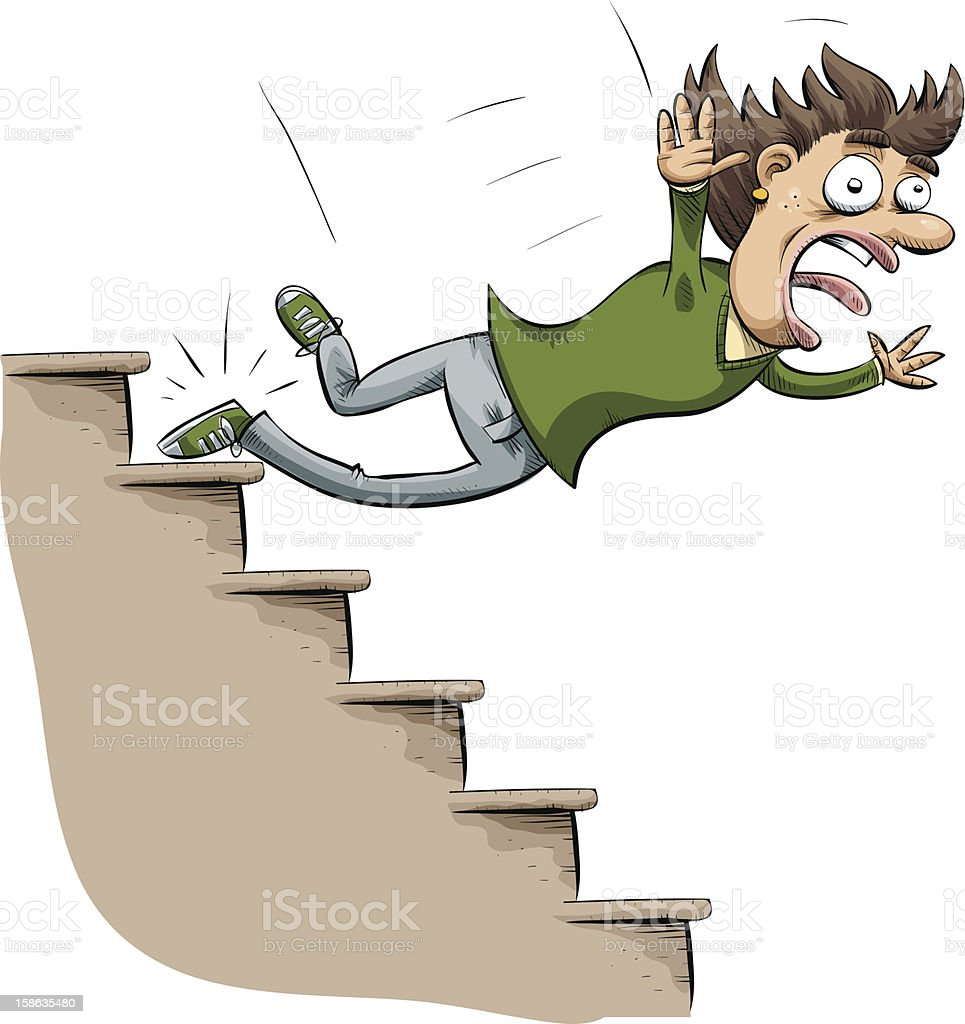 Falling Down Stairs royalty-free stock vector art