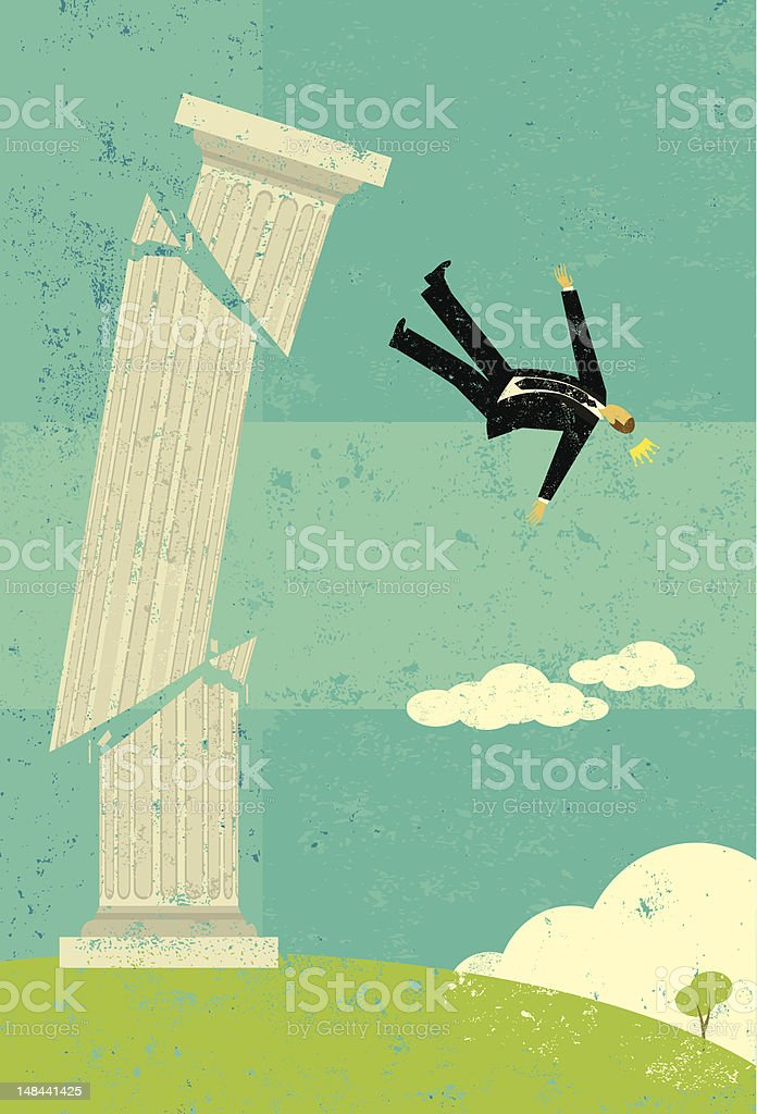 Falling from the pedestal royalty-free stock vector art