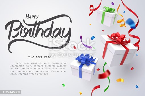 Falling gift box and Happy birthday calligraphy, Happy birthday celebrate, vector art and illustration.