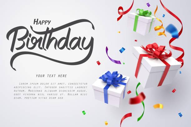 spadające pudełko na prezenty i kaligrafia urodzinowa, wszystkiego najlepszego z okazji urodzin - gift stock illustrations