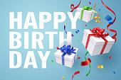 Falling gift box, Happy birthday celebrate, vector art and illustration.