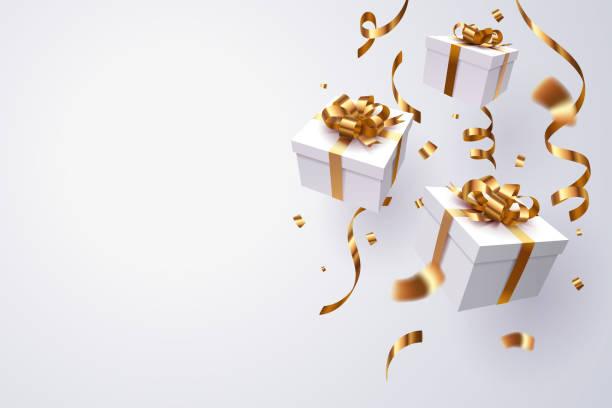 spadające pudełko na prezent, szczęśliwe obchody nowego roku. - gift stock illustrations
