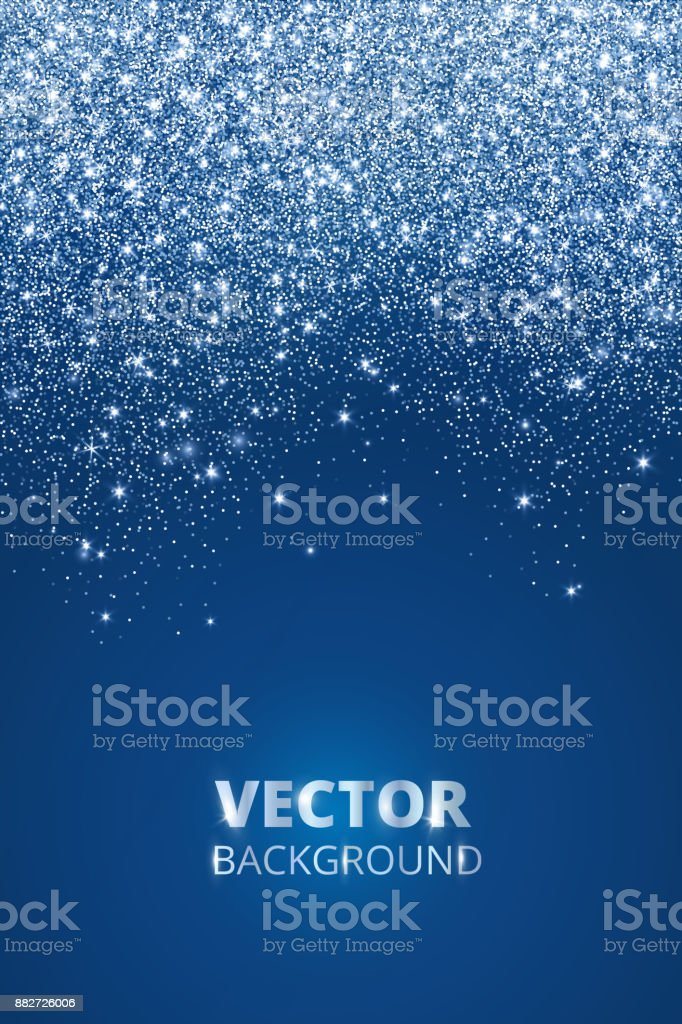 Falling glitter confetti, snow. Vector dust, explosion on blue background. Sparkling glitter border, frame. royalty-free falling glitter confetti snow vector dust explosion on blue background sparkling glitter border frame stock illustration - download image now