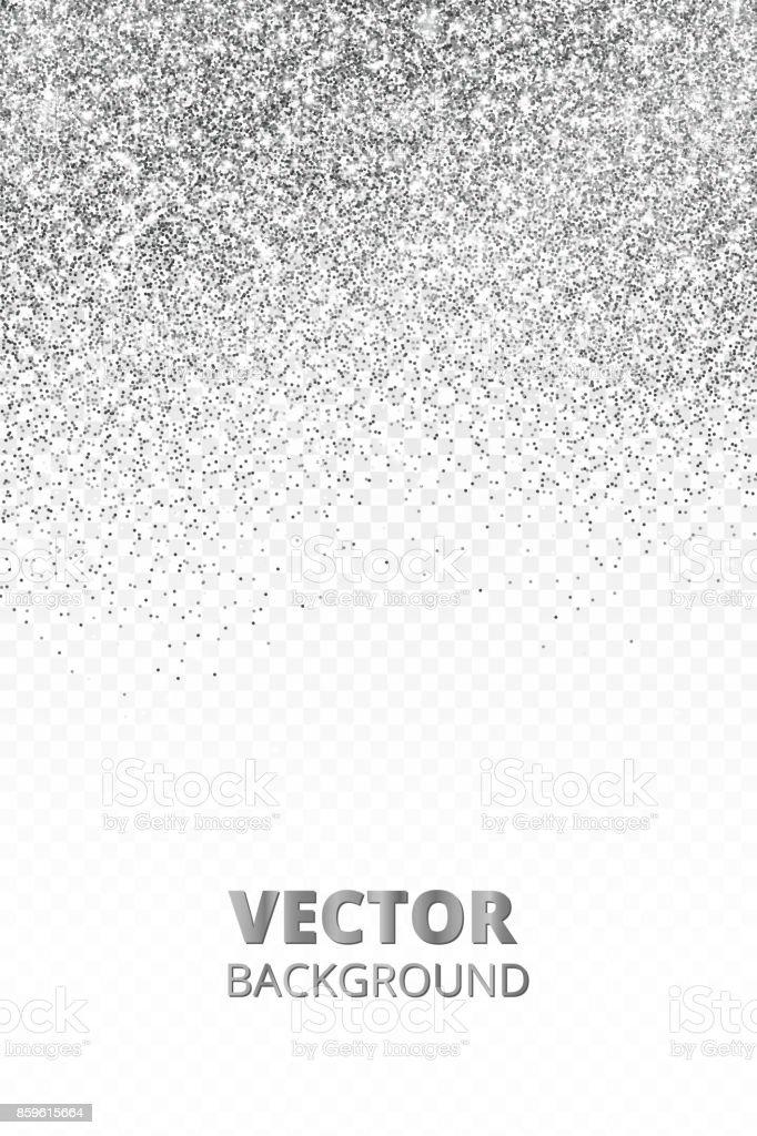 Falling glitter confetti. Vector silver dust isolated on transparent background. Sparkling glitter border, festive frame.