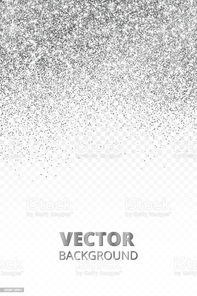 Falling glitter confetti. Vector silver dust isolated on transparent background. Sparkling glitter border, festive frame. vector art illustration