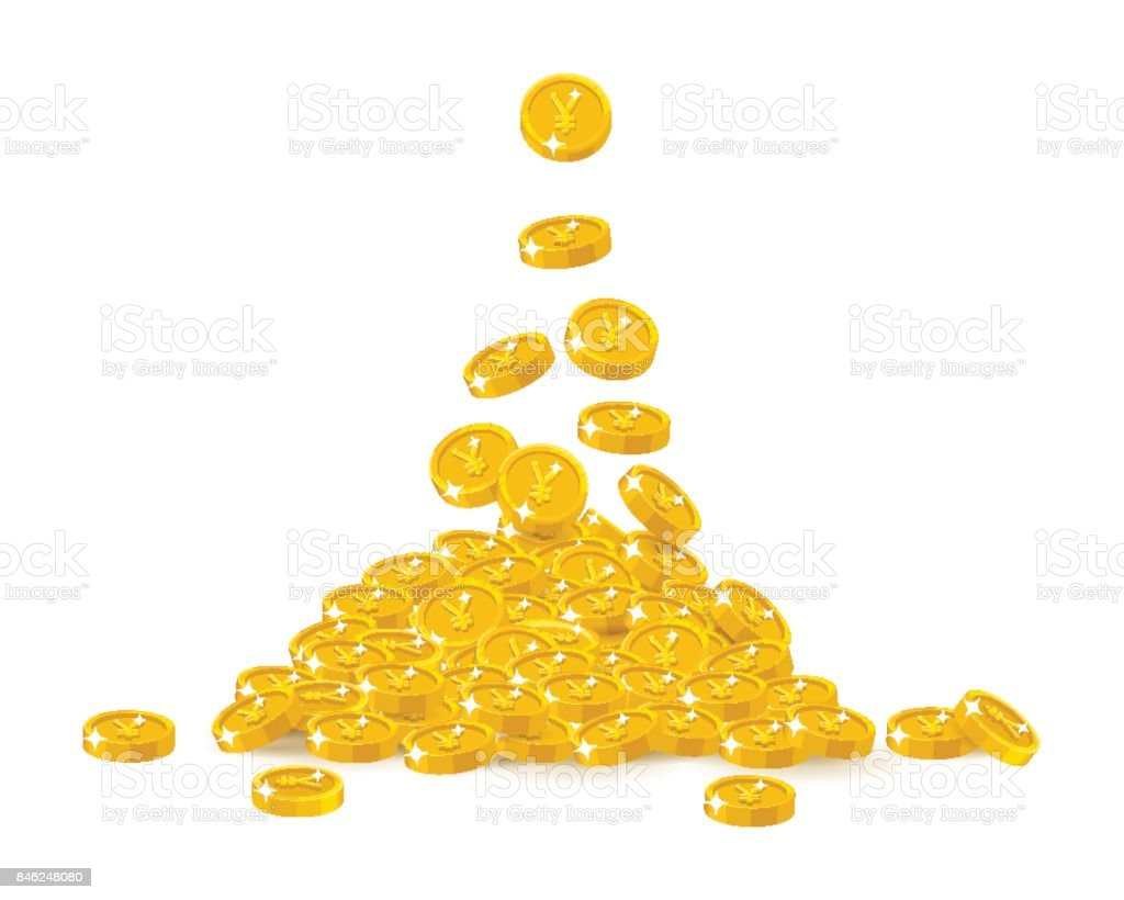 Falling gold Chinese yuan or Japanese yen cartoon isolated vector art illustration