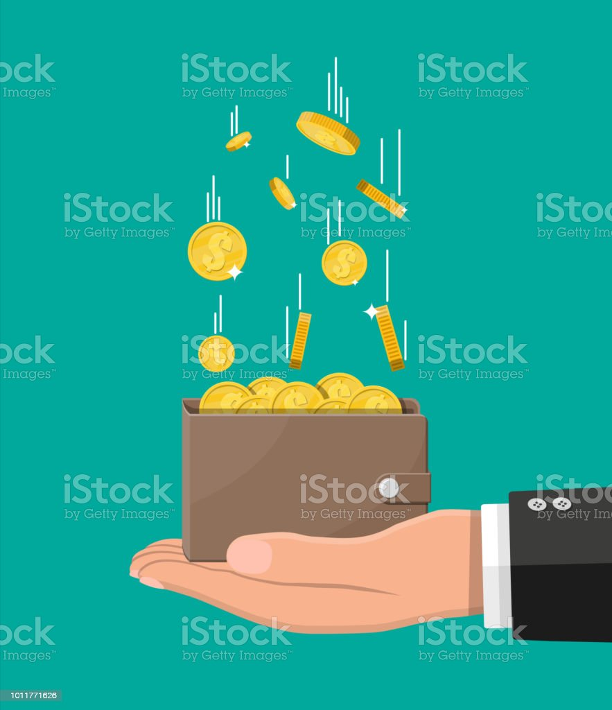Falling gold coins and leather wallet in hand Falling gold coins and leather wallet in hand. Money rain. Golden coins with dollar sign. Growth, income, savings, investment. Symbol of wealth. Business success. Flat style vector illustration. Adult stock vector