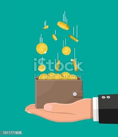Falling gold coins and leather wallet in hand. Money rain. Golden coins with dollar sign. Growth, income, savings, investment. Symbol of wealth. Business success. Flat style vector illustration.