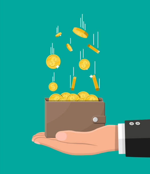 falling gold coins and leather wallet in hand - money stock illustrations